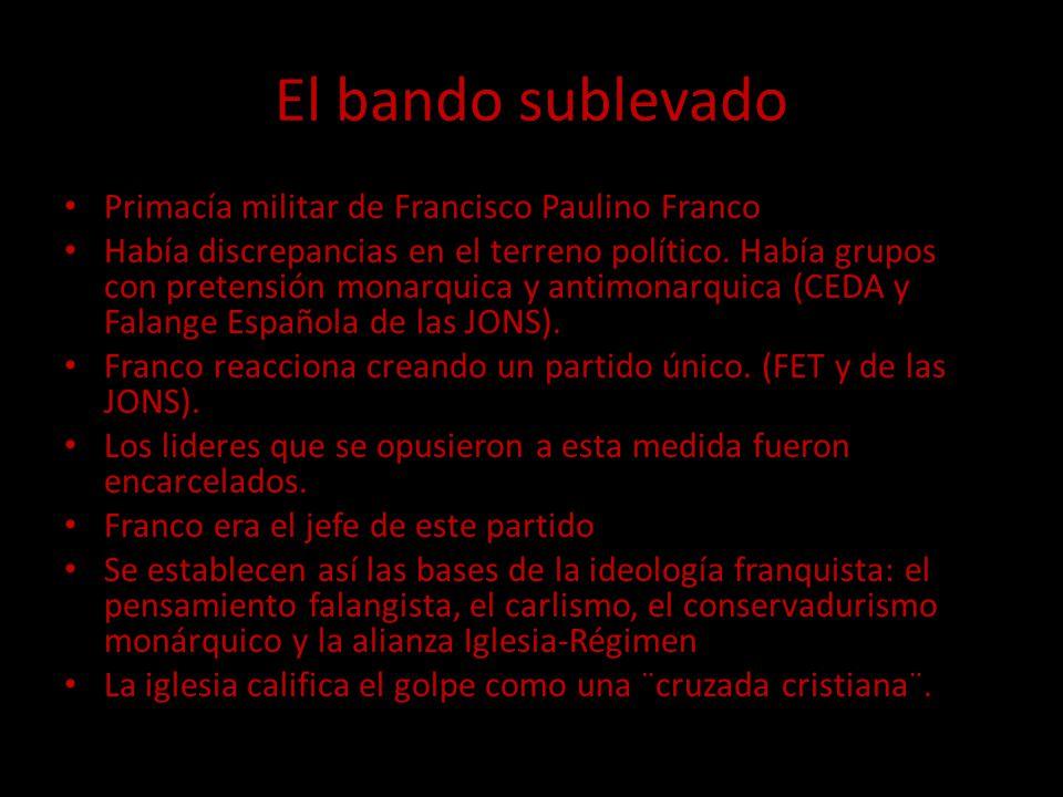 El bando sublevado Primacía militar de Francisco Paulino Franco