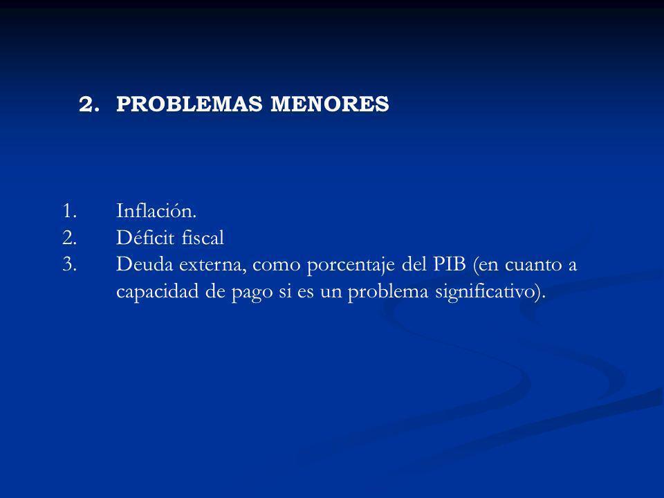 2. PROBLEMAS MENORES Inflación. Déficit fiscal.