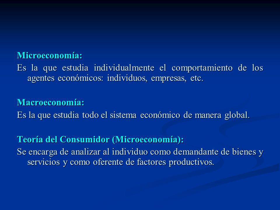 Microeconomía: Es la que estudia individualmente el comportamiento de los agentes económicos: individuos, empresas, etc.