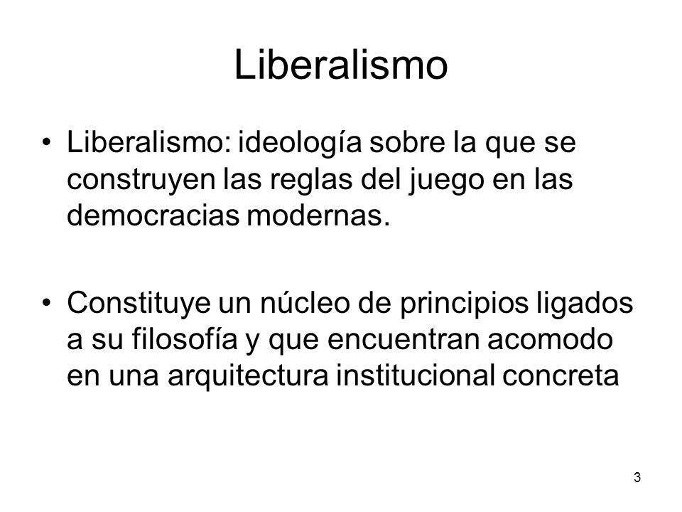 Liberalismo Liberalismo: ideología sobre la que se construyen las reglas del juego en las democracias modernas.