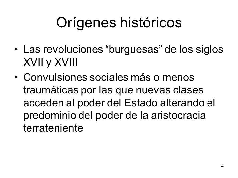 Orígenes históricosLas revoluciones burguesas de los siglos XVII y XVIII.
