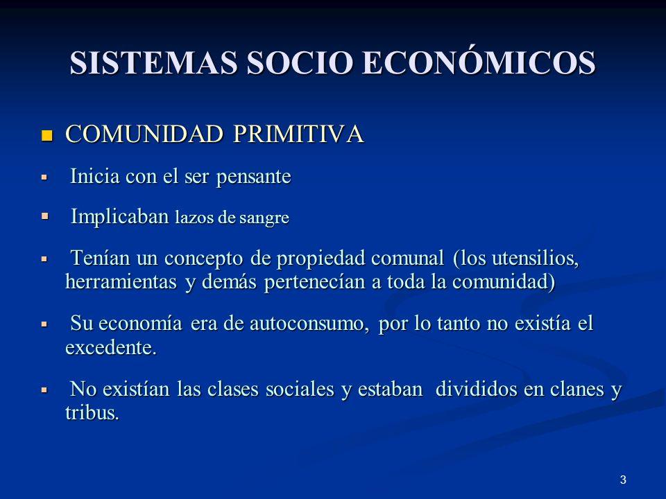 SISTEMAS SOCIO ECONÓMICOS