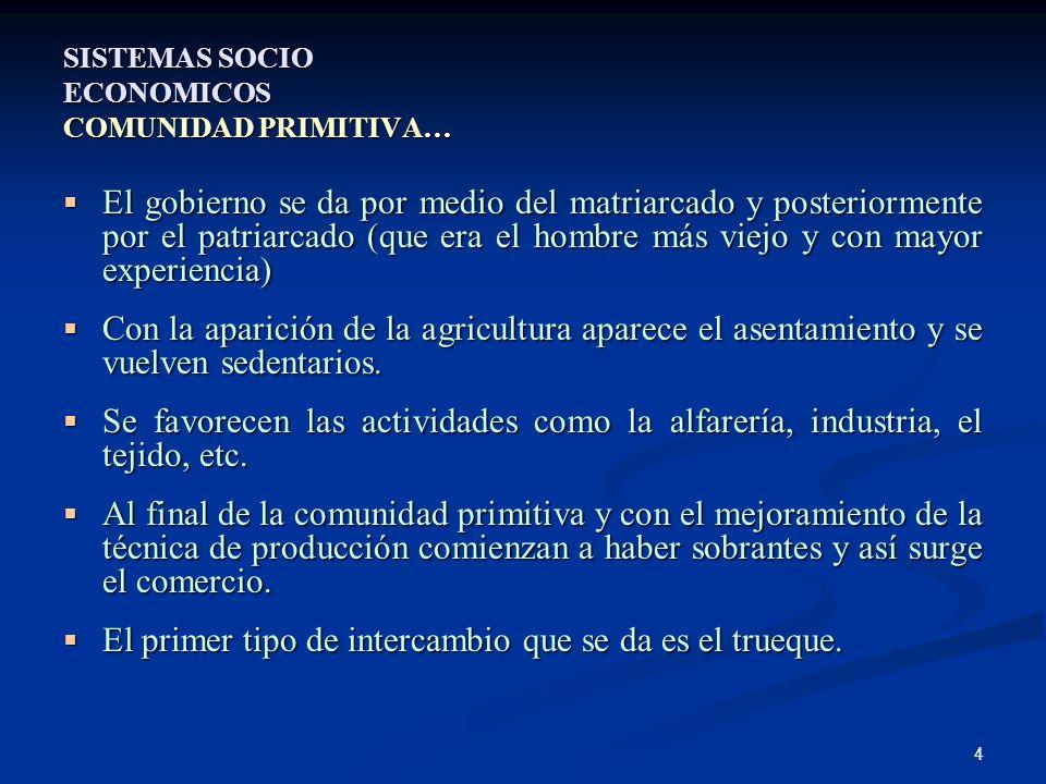 SISTEMAS SOCIO ECONOMICOS COMUNIDAD PRIMITIVA…