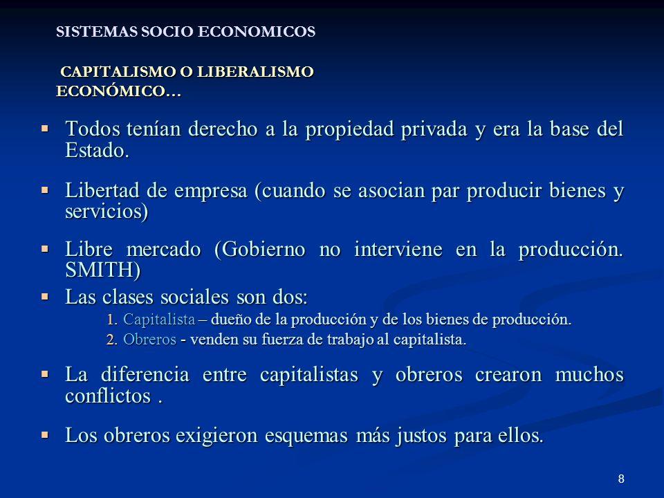 SISTEMAS SOCIO ECONOMICOS CAPITALISMO O LIBERALISMO ECONÓMICO…