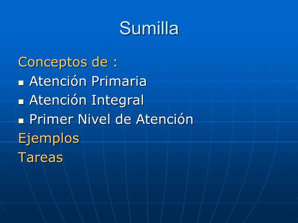 Sumilla Conceptos de : Atención Primaria Atención Integral