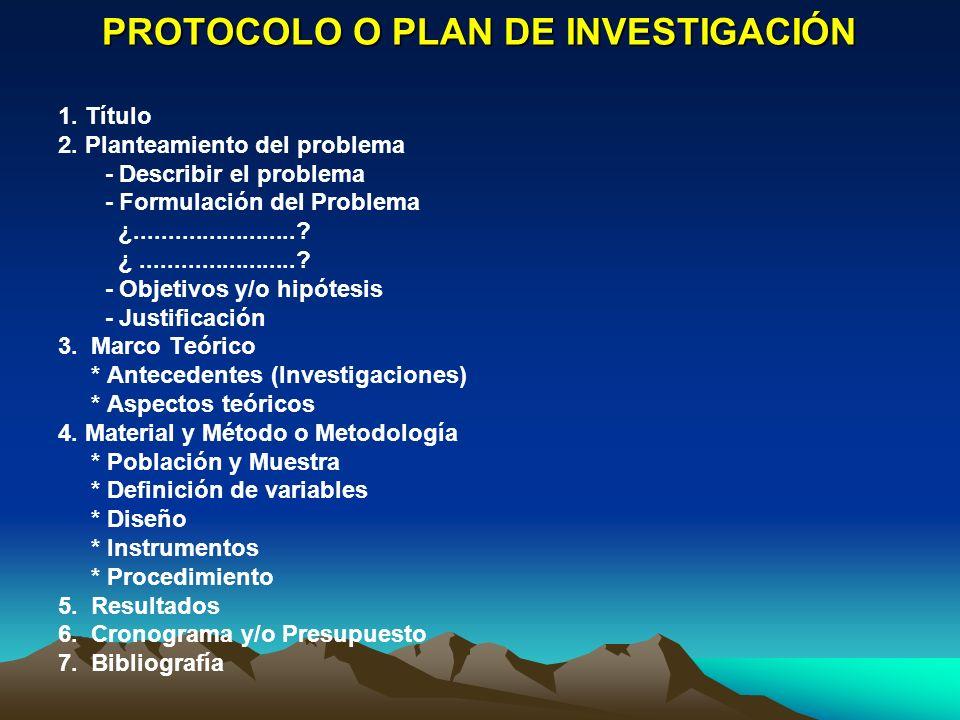 PROTOCOLO O PLAN DE INVESTIGACIÓN