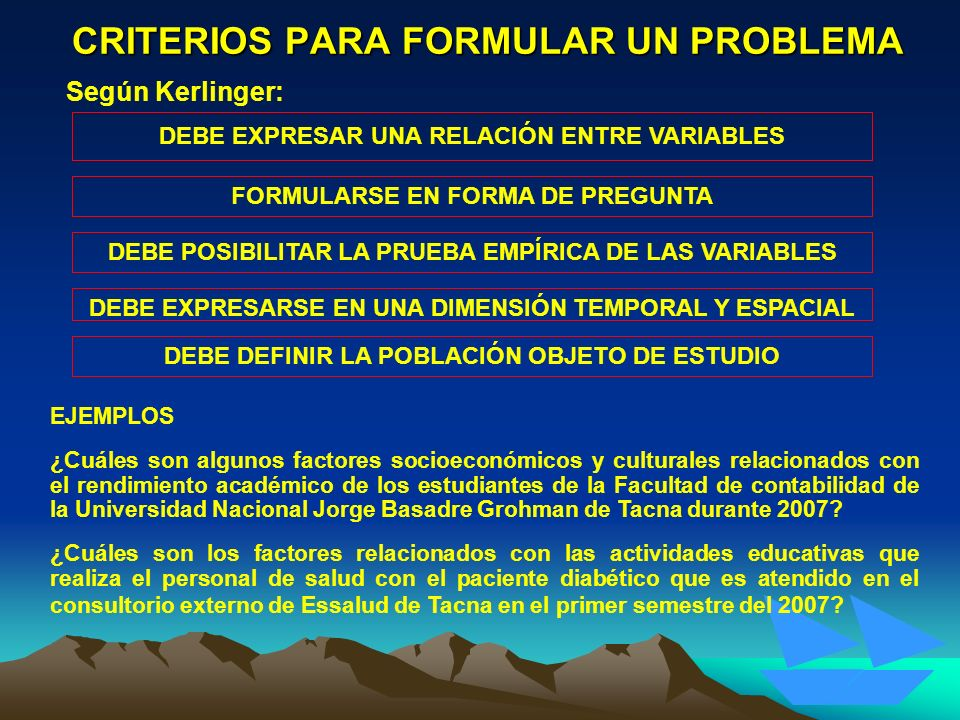 CRITERIOS PARA FORMULAR UN PROBLEMA