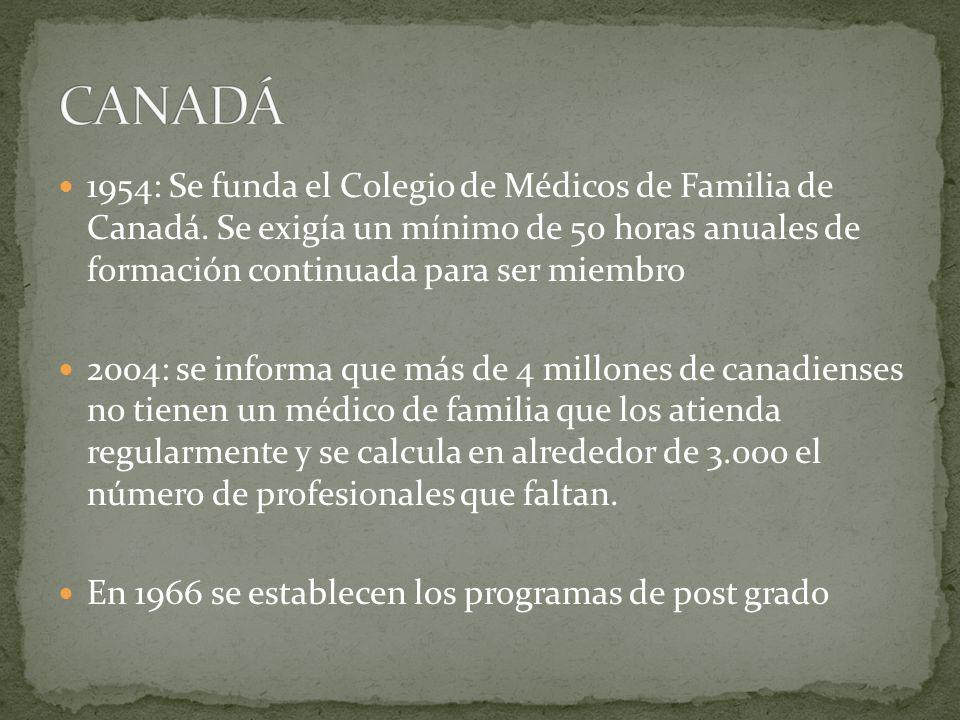 CANADÁ 1954: Se funda el Colegio de Médicos de Familia de Canadá. Se exigía un mínimo de 50 horas anuales de formación continuada para ser miembro.