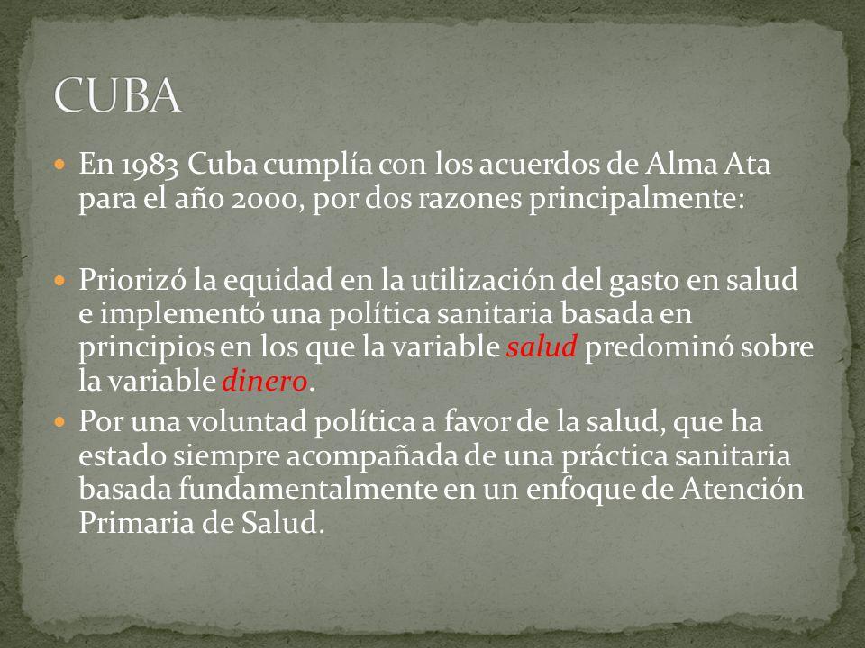 CUBA En 1983 Cuba cumplía con los acuerdos de Alma Ata para el año 2000, por dos razones principalmente: