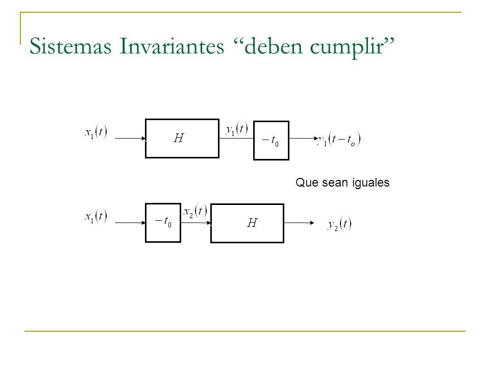 Sistemas Invariantes deben cumplir