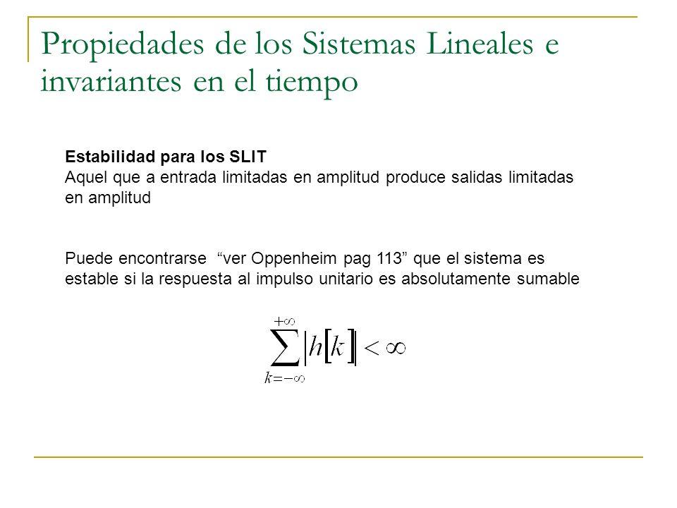 Propiedades de los Sistemas Lineales e invariantes en el tiempo