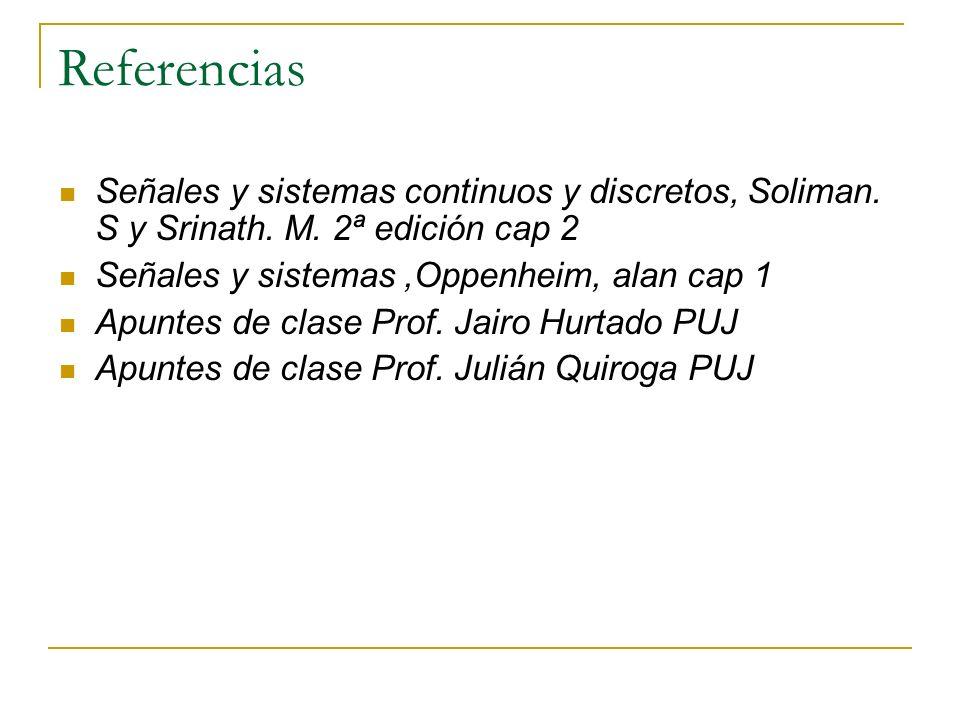 Referencias Señales y sistemas continuos y discretos, Soliman. S y Srinath. M. 2ª edición cap 2. Señales y sistemas ,Oppenheim, alan cap 1.