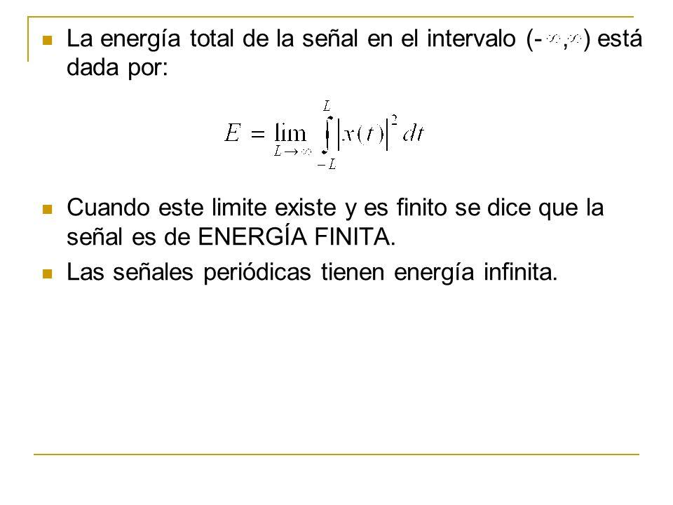 La energía total de la señal en el intervalo (- , ) está dada por:
