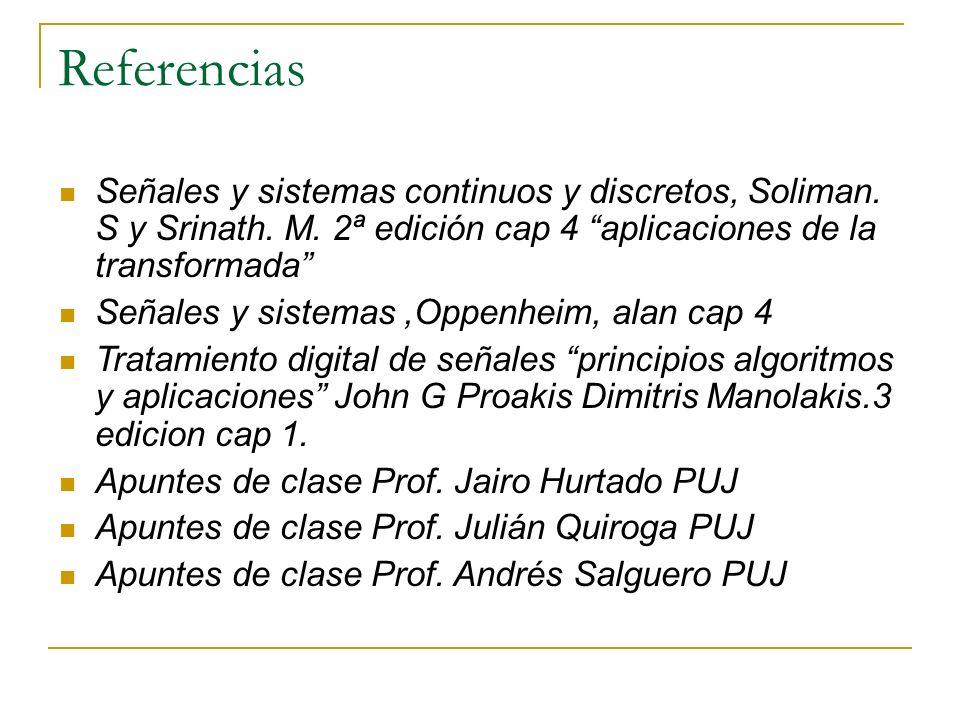 Referencias Señales y sistemas continuos y discretos, Soliman. S y Srinath. M. 2ª edición cap 4 aplicaciones de la transformada