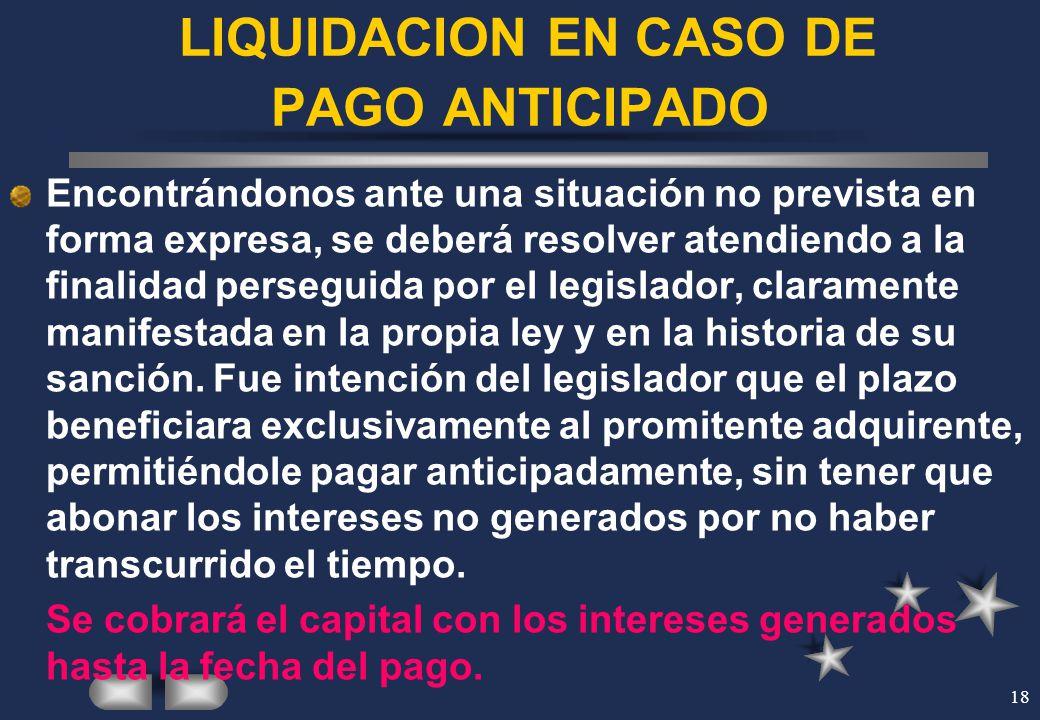 LIQUIDACION EN CASO DE PAGO ANTICIPADO