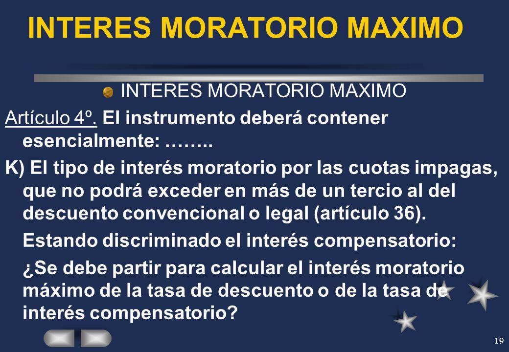 INTERES MORATORIO MAXIMO