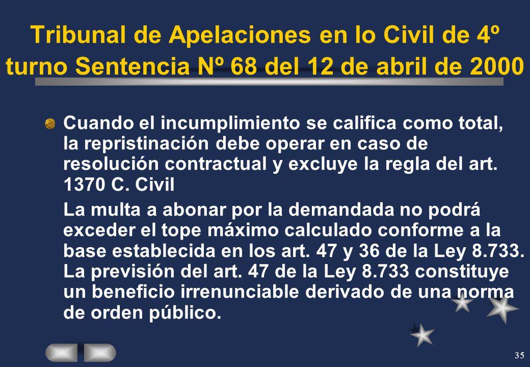 Tribunal de Apelaciones en lo Civil de 4º turno Sentencia Nº 68 del 12 de abril de 2000