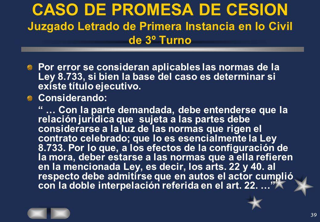 CASO DE PROMESA DE CESION Juzgado Letrado de Primera Instancia en lo Civil de 3º Turno