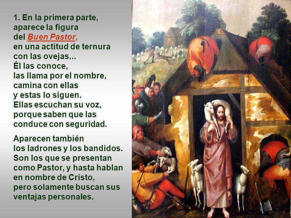 1. En la primera parte, aparece la figura del Buen Pastor,