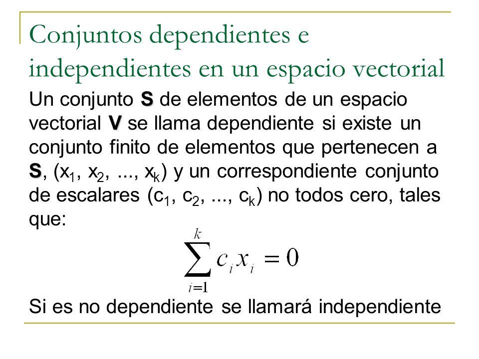 Conjuntos dependientes e independientes en un espacio vectorial