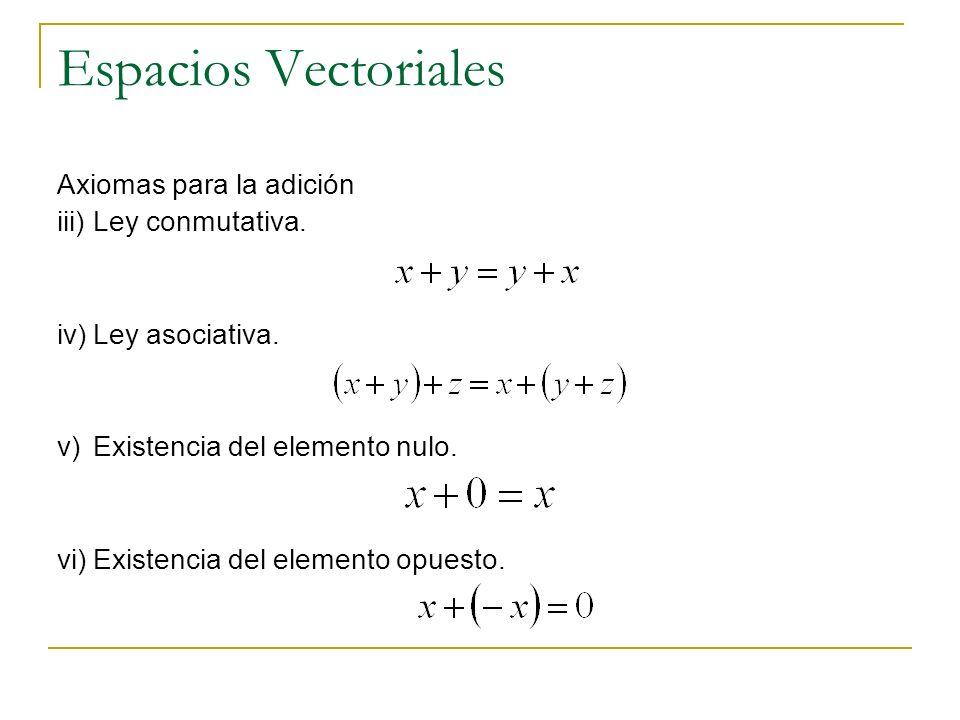 Espacios Vectoriales Axiomas para la adición iii) Ley conmutativa.