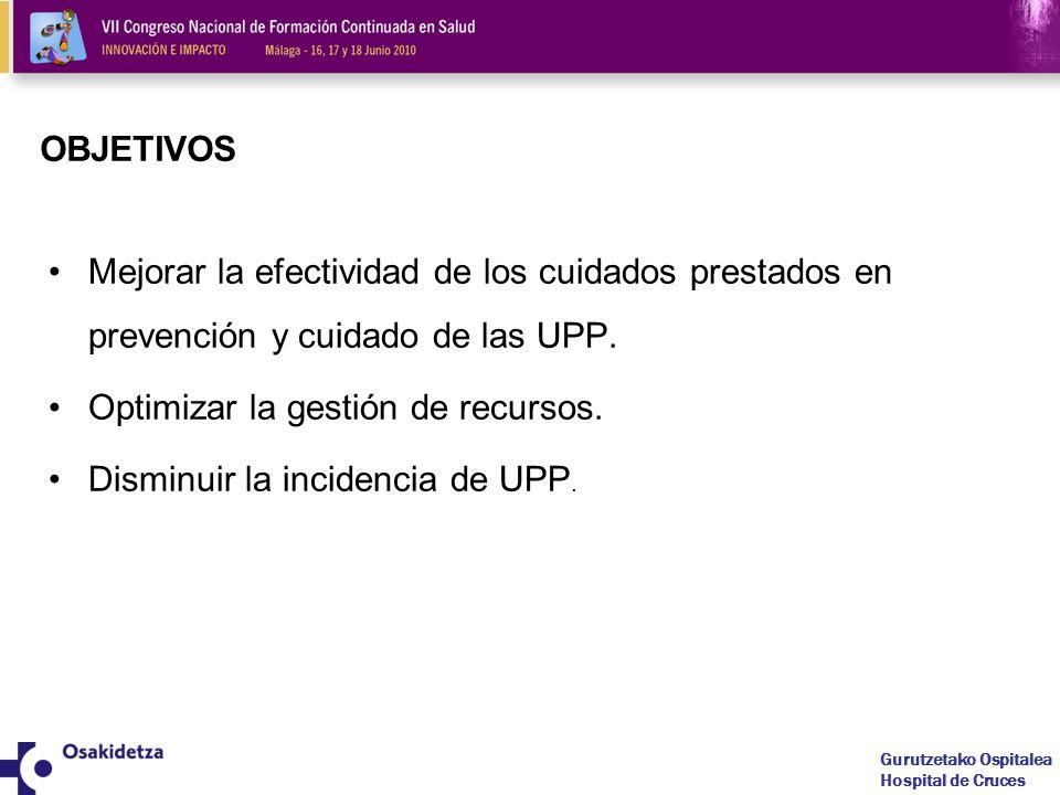 OBJETIVOS Mejorar la efectividad de los cuidados prestados en prevención y cuidado de las UPP. Optimizar la gestión de recursos.