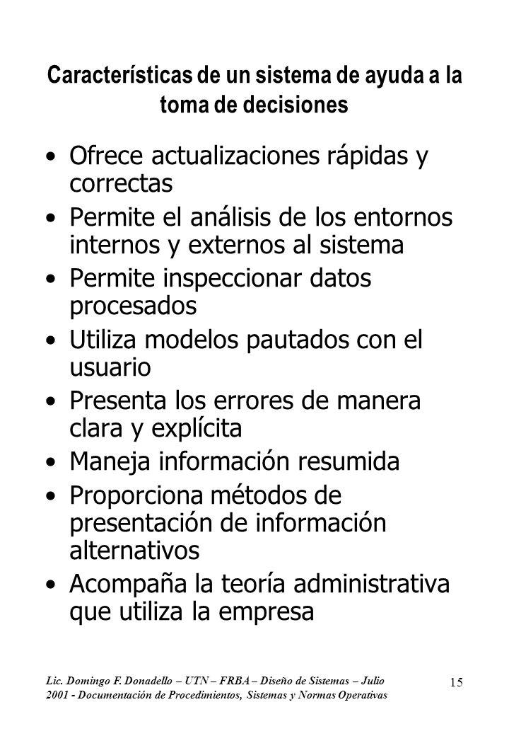 Características de un sistema de ayuda a la toma de decisiones