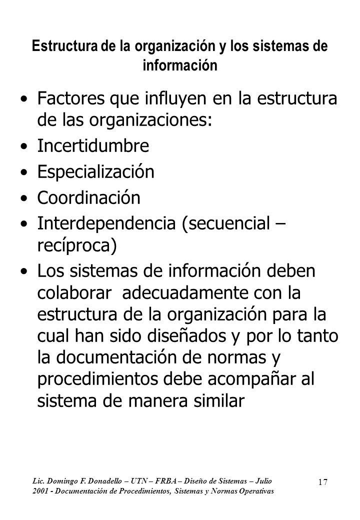 Estructura de la organización y los sistemas de información