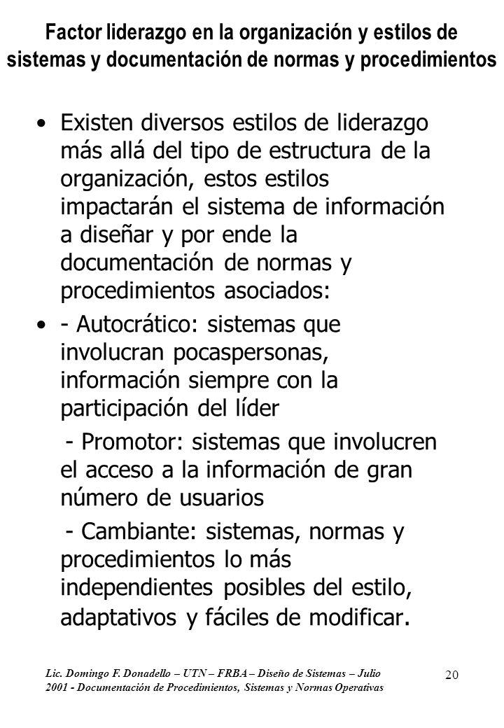 Factor liderazgo en la organización y estilos de sistemas y documentación de normas y procedimientos