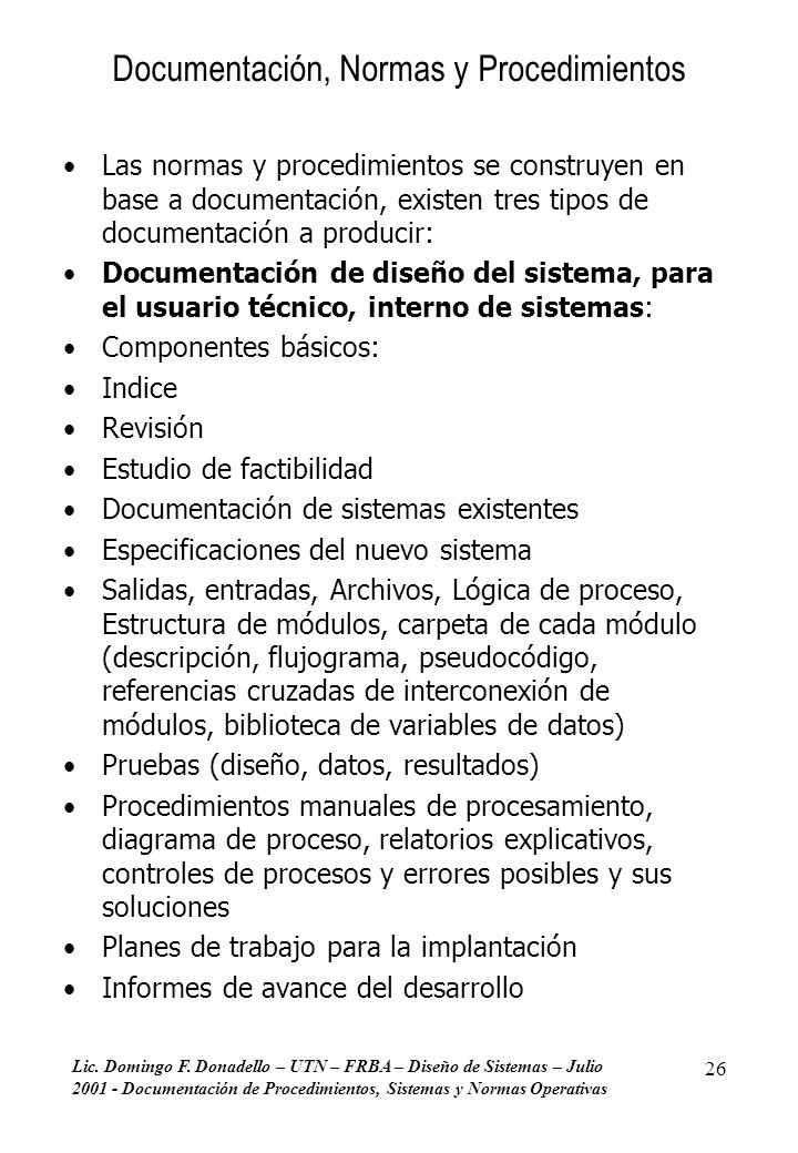 Documentación, Normas y Procedimientos