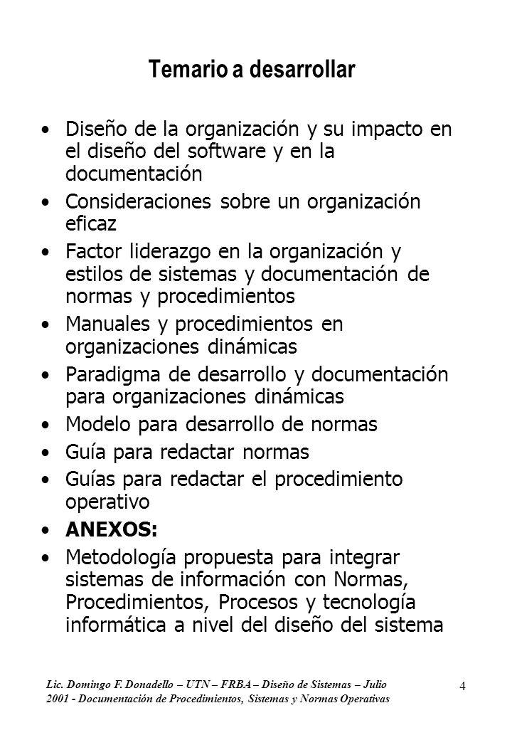 Temario a desarrollar Diseño de la organización y su impacto en el diseño del software y en la documentación.
