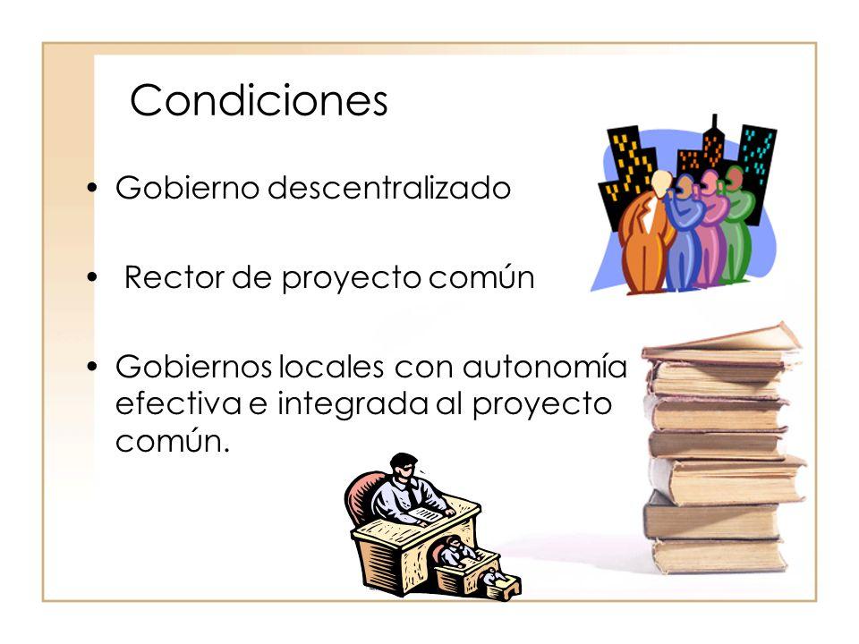 Condiciones Gobierno descentralizado Rector de proyecto común