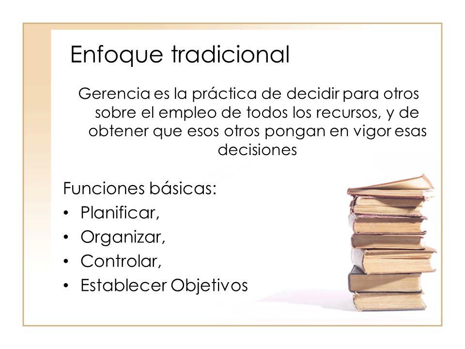 Enfoque tradicional Funciones básicas: Planificar, Organizar,