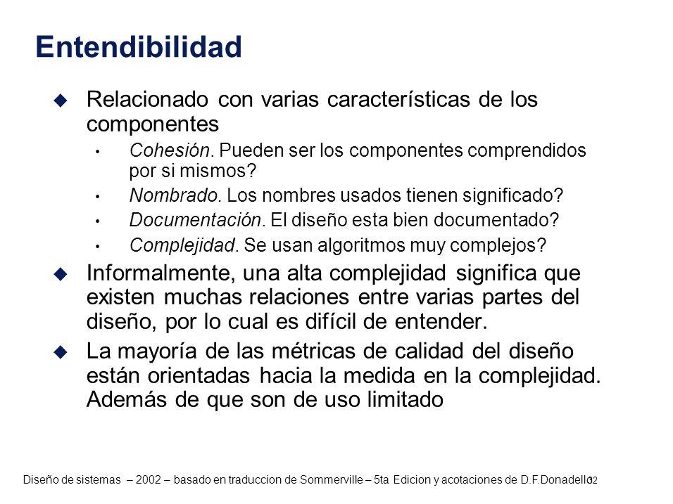 Entendibilidad Relacionado con varias características de los componentes. Cohesión. Pueden ser los componentes comprendidos por si mismos