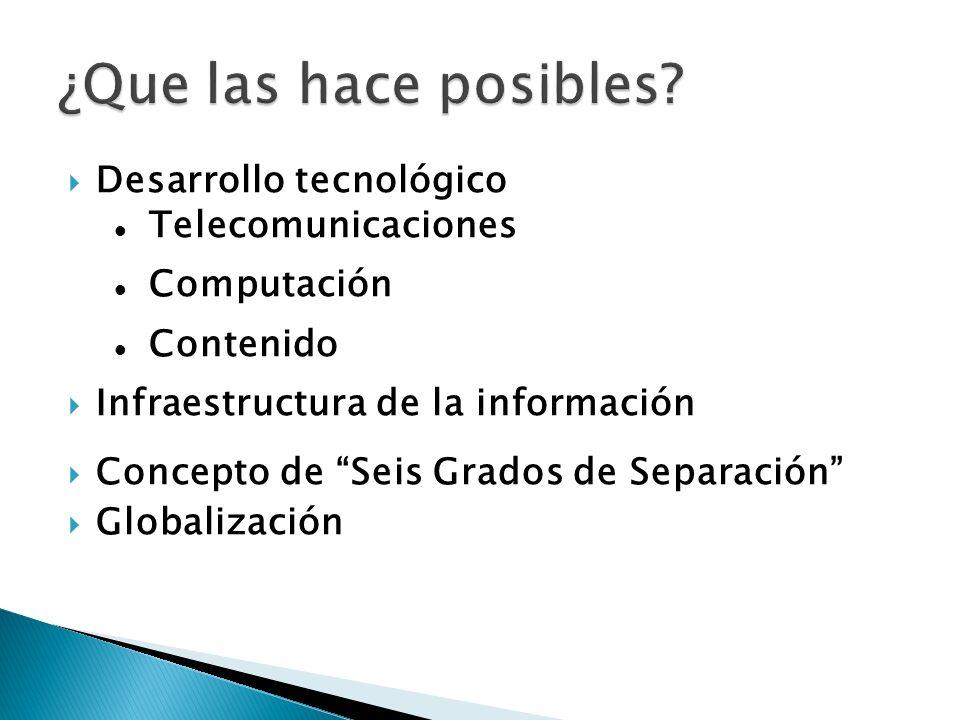 ¿Que las hace posibles Desarrollo tecnológico Telecomunicaciones
