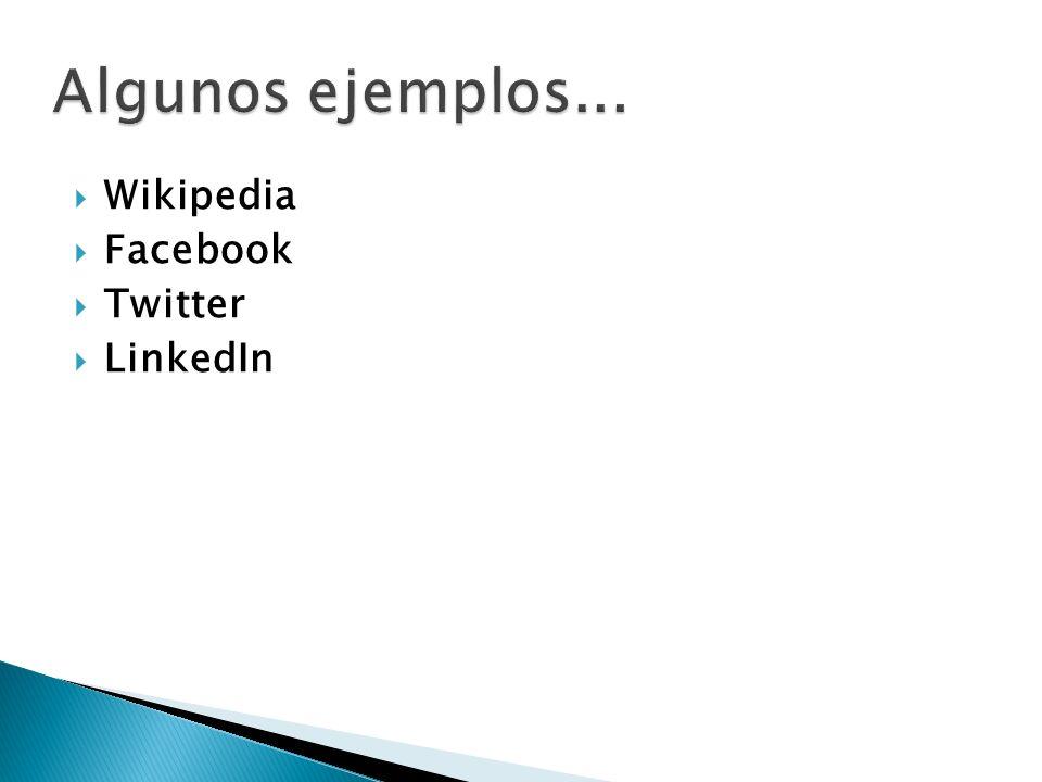 Algunos ejemplos... Wikipedia Facebook Twitter LinkedIn