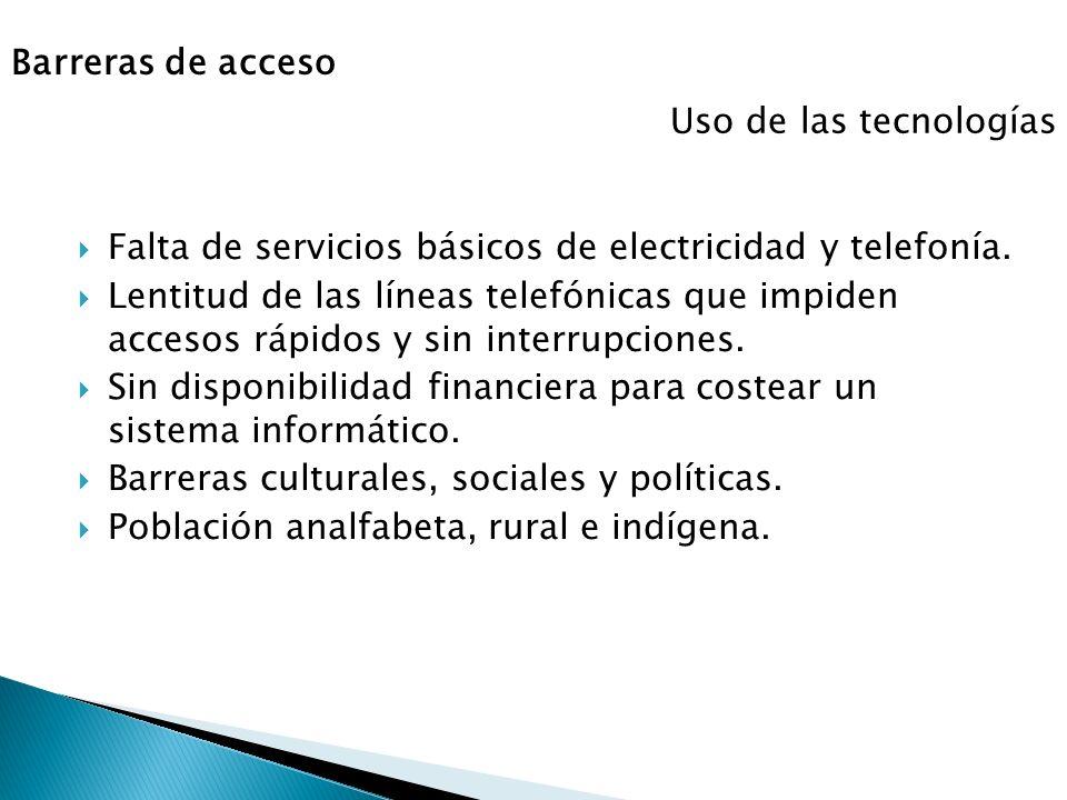 Barreras de acceso Uso de las tecnologías. Falta de servicios básicos de electricidad y telefonía.