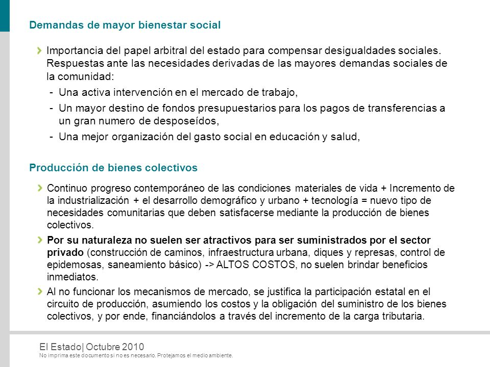 Demandas de mayor bienestar social