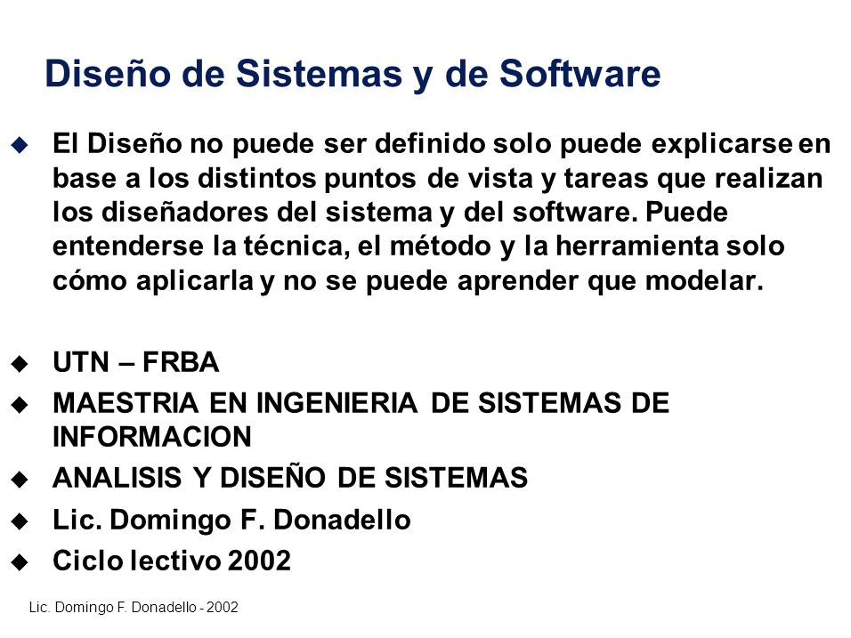 Diseño de Sistemas y de Software