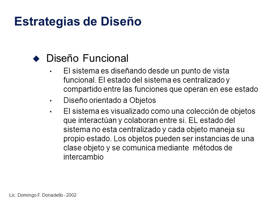 Estrategias de Diseño Diseño Funcional