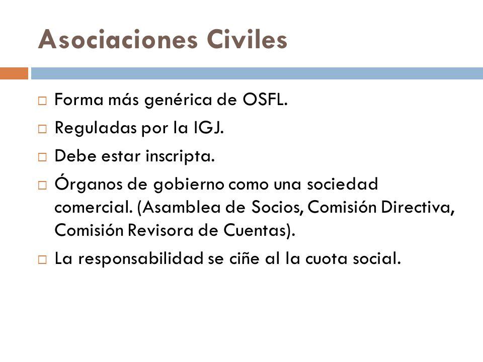 Asociaciones Civiles Forma más genérica de OSFL. Reguladas por la IGJ.