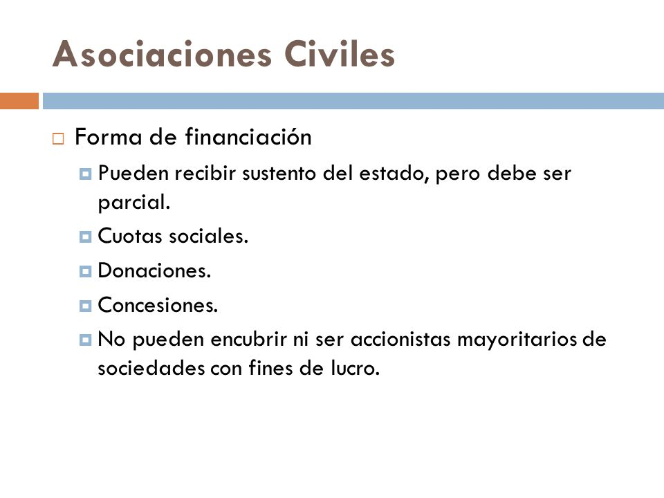 Asociaciones Civiles Forma de financiación