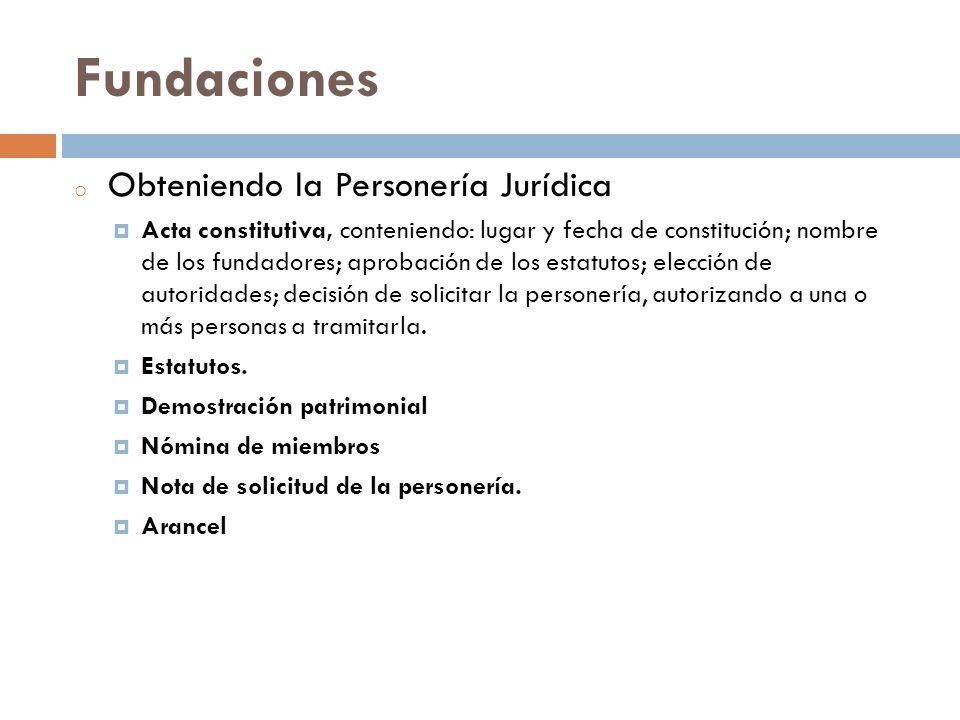 Fundaciones Obteniendo la Personería Jurídica