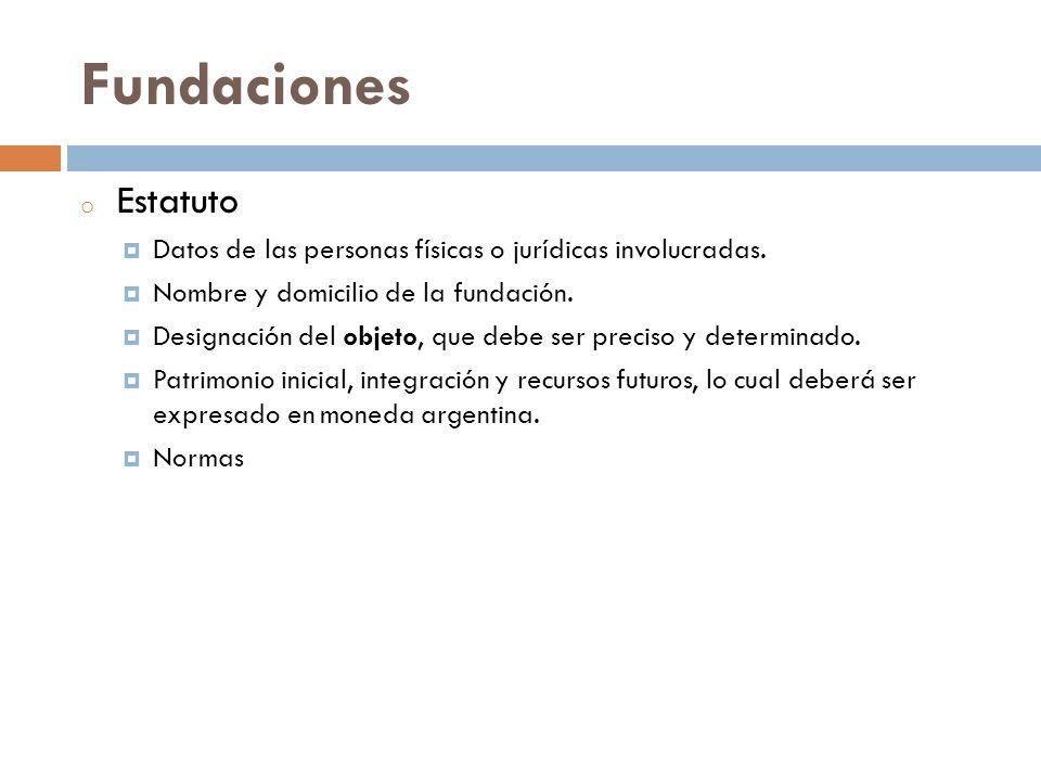 Fundaciones Estatuto. Datos de las personas físicas o jurídicas involucradas. Nombre y domicilio de la fundación.