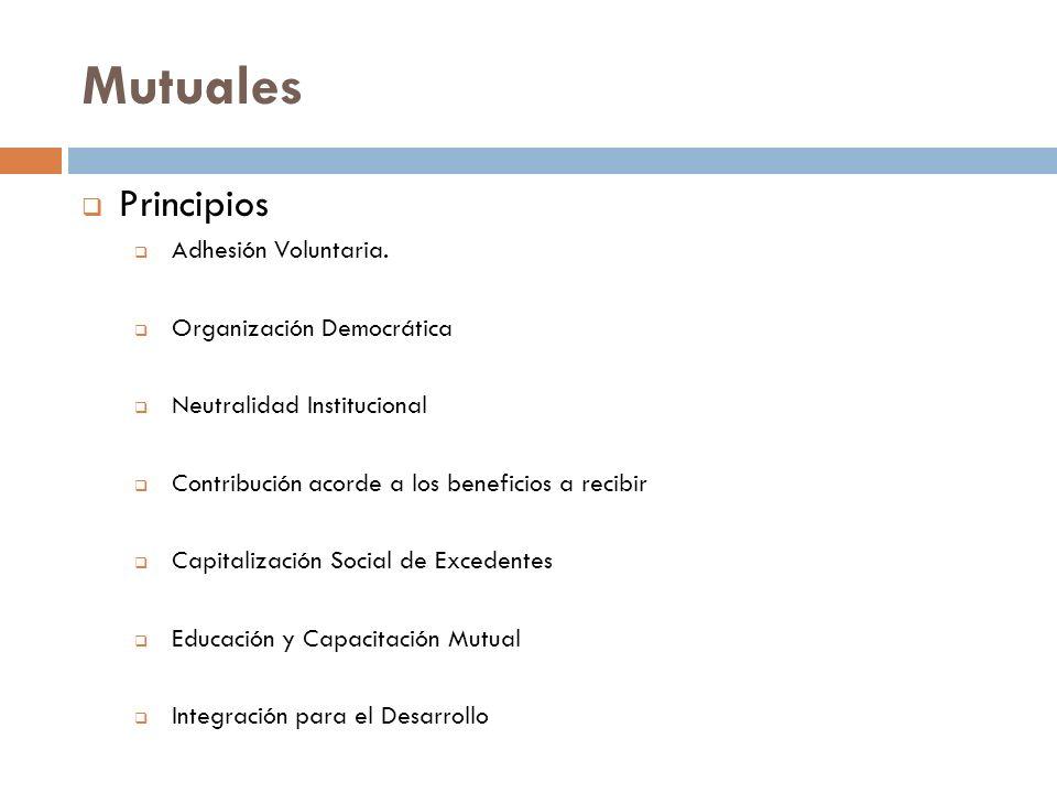 Mutuales Principios Adhesión Voluntaria. Organización Democrática