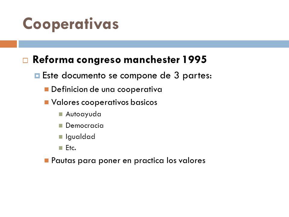Cooperativas Reforma congreso manchester 1995