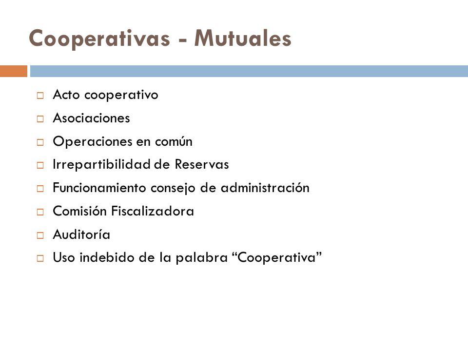 Cooperativas - Mutuales