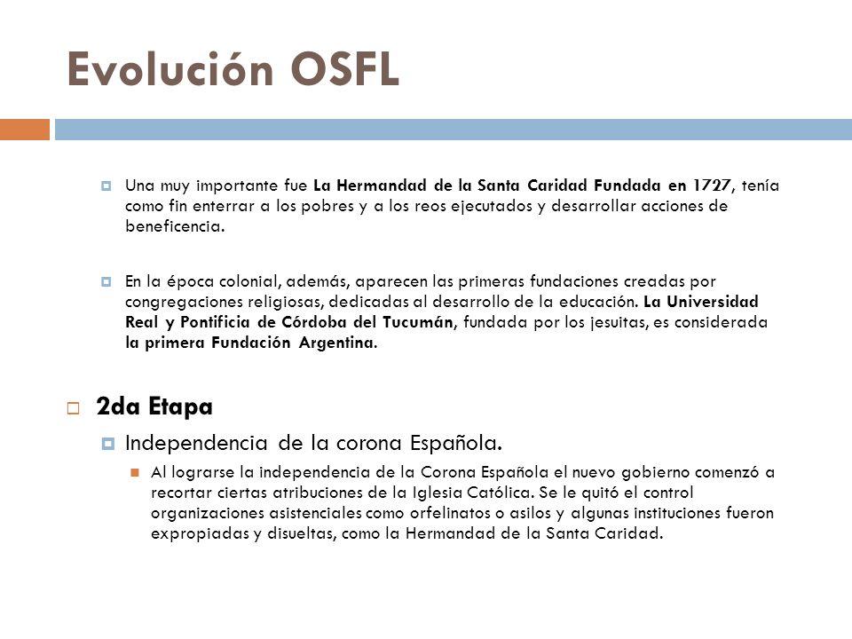 Evolución OSFL 2da Etapa Independencia de la corona Española.