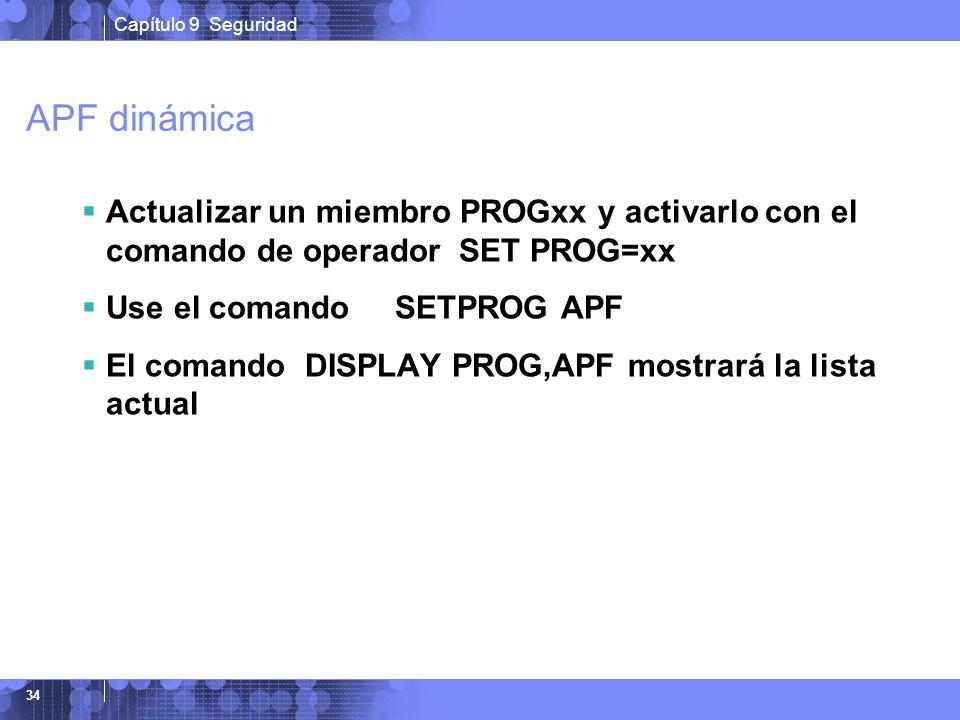 APF dinámica Actualizar un miembro PROGxx y activarlo con el comando de operador SET PROG=xx. Use el comando SETPROG APF.