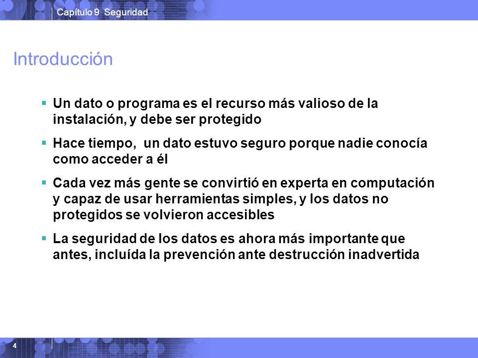 Introducción Un dato o programa es el recurso más valioso de la instalación, y debe ser protegido.